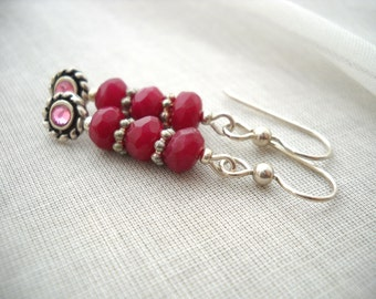 Ruby pink sterling silver earrings: Bed of Roses - Gifts under 20, sterling silver, ruby earrings, ruby jewelry, pink earrings, pink jewelry