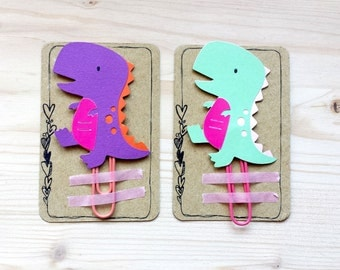 T-Rex Dinosaur Planner Clip, T Rex Paper Clip, Planner Accessories, Stationery, Paperclips, Page Marker, Colored T-Rex Paper Clips - FiloFax