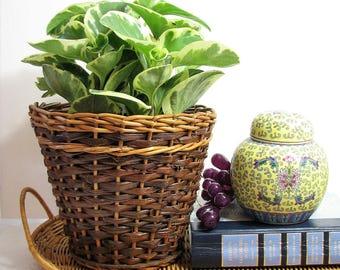 "Wicker Planter Basket, Hand Woven Two Tone Dark and Light 6.75"" Tall ... Boho Jungalow Coastal Decor, Natural Rattan Plant Pot Basket"