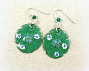 Spring Green Enamel Charm Earrings - Artisan Handmade Charms with Custom Silver Ear Wires - Artisan Boho Green Earrings, Green and White