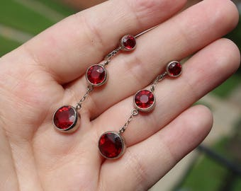 Vintage Edwardian Sterling Silver Red French Paste Earrings