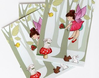 FAIRIES POSTCARD - Children's Wall Art Print - Kids Decor - Wall Art Illustration - Girl's nursery - fairy decor - 4.1 x 5.8 in