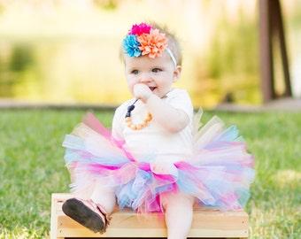 Baby tutu and flower headband set, pink peach turquoise tutu, baby tutu, tutu photo prop, tutu dress, tutu skirt, tutu set, smash cake tutu