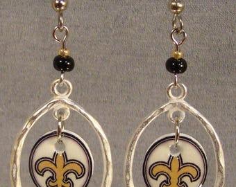 Fleur Di Lis Hoop Earrings -  Symbolic Jewelry - Black and Gold Jewellery
