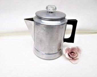 Vintage Metal Coffee Pot | Stove Top Percolator | Aluminum Coffee Maker | Comet Pot