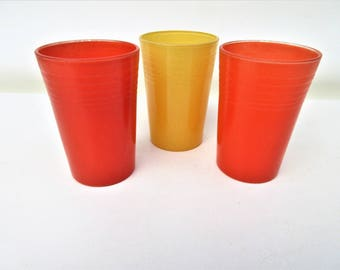 Vintage Orange Juice Glasses | Small Bar Glasses | Small Tumblers | Orange Yellow Glasses