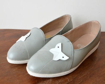 80s Shoes Womens Vintage Gray Loafers Flats Slip On Shoes US 7 1/2 EU 38