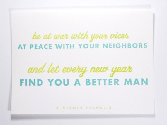 Ben Franklin New Years Quote: Items Similar To Ben Franklin Quote For New Year's