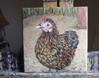 Comely Henny 8x8 Original Painting Hen 8 x 8 Acrylic