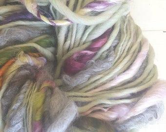 Yarn, Beautiful, Handspun, Super Bulky, Thick n Thin, Rainbow, Sea Glass, Pastel, Hand Dyed, Wool, Knitting, Crochet Supplies, Yospun