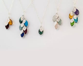 Custom Birthstone Necklace, Family Tree Necklace, Initial Necklace, Charm Necklace, Gift Idea, Sterling Silver Necklace, Unique Gift