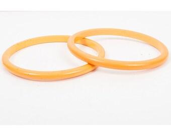 Vintage Bakelite bangles set of 2 / Butterscotch spacer bracelets