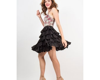 NORMA KAMALI / Vintage OMO iconic tiered ruffled Rhumba mini skirt / S