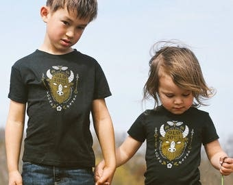 Old Soul Young Heart Vintage Unisex Toddler T-Shirt. Grey Black Kids Triblend Tee with Buffalo. Shirt for Boys and Girls. Made in USA.