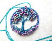 Tree of Life Necklace, Metallic Rainbow, Tree Necklace