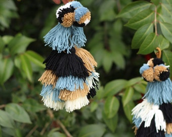 Neutral Swag: Large Triple Tassel Pom Camel Swag Pom Pom, Blue, Khaki, Black, White Boho Gypsy Fashion Supply, Bag Poms, Purse Charm, 1 pc.