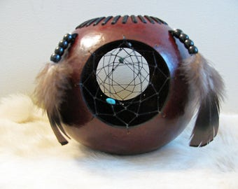 Dream Catcher Bowl , Hand Carved Gourd , Turquoise Magnesite , Hand Painted Gourd , Turkey Feather Gourd , Black And Brown Bowl , Handmade