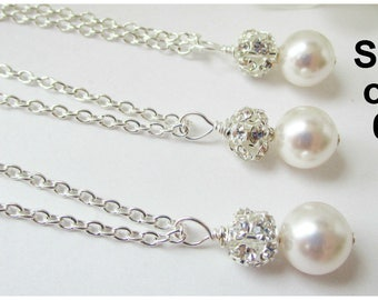 Set of 6 Bridesmaids Necklaces,Bridesmaid Jewelry Set of 6,White Pearl Necklace,Ivory Pearl Bridesmaid Jewelry,Pearl Necklace, 6 Necklaces