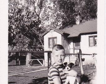 Puppy Love- 1930s Vintage Photograph- Boy and Dog- Best Friends- Found Photo- Vernacular Snapshot- Paper Ephemera