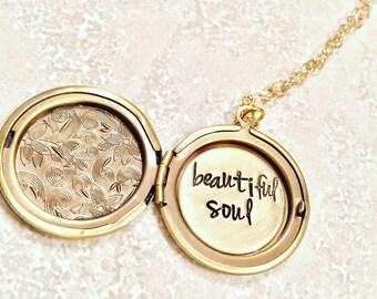 Graduation Gift, Locket Necklace, Beautiful Soul, Custom Locket, Personalized Locket 14kt chain, Hand Stamped Message Locket, natashaal