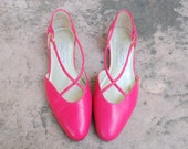 Vintage Womens 6 Calico Hot Pink 80s 90s Round Toe Flats Oxfords Side Buckle Slip on Sandals Summer Hipster Pumps Criss Cross Leather Dress