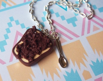 Miniature Toast Necklace ( chocolate toast food miniature polymer clay jewelry cute necklace food necklace gift for her silver spoon charm)