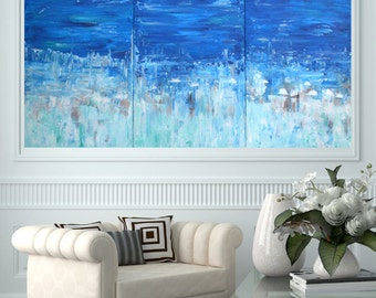 MADE TO ORDER: Ocean Beach Abstract Textured Art Multi Panel Large Room Landscape Art by MyImaginationIsYours