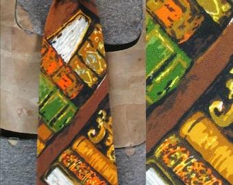 Mod Vintage Wide Necktie 1970s Colorful Professor Tie Cotton Blend