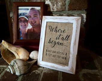 "Burlap ""Where It All Began"" Coordinates Print Sign - Anniversary Gift - Wedding Burlap Decor - Personalized Home Decor on Burlap"