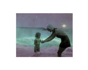 Mother and Child Swimming in Ocean Purple and Aquamarine Mixed Media Collage 11 x 8.5 inch Art Print
