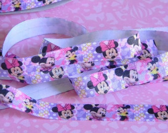 """Minnie Mouse FOE 5 yards 5/8"""" Fold Over Elastic Headband Connector Disney Pink Purple Minnie's Bowtique Mickey's Clubhouse Party Favor Ties"""