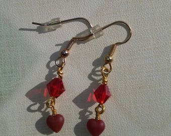 Clearance/destash Ayla's Bead Creations Hearts & red crystal earring