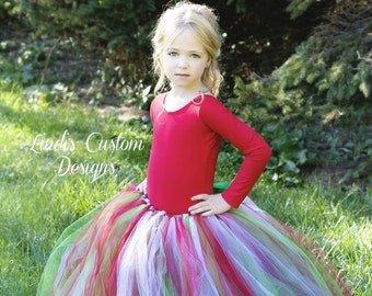 Christmas Flower Girl Holiday Tutu for Weddings, Pageants, Holiday Gatherings, Christmas Photography, Red, Green, Emerald Kelly Green Tutu