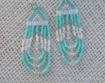 Mint Green & White Earrings - Short Length Looped Fringe - Beaded Dainty - Seed Bead Earrings - 2 Inch Long - Drop Style