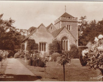 Stoke poges church - England - Antique postcard - sepia - real photograph - souvenirs - correspondence - free shipping Canada USA