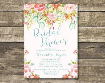 Printed Bridal Shower Invitation - Spring / Summer Floral Bridal Shower - Pink Teal Bridal Lunch Bridal Tea