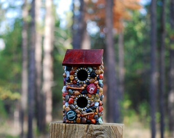 Outdoor mosaic Stone Birdhouse with brewery beer caps and colorful stones natural rustic garden music winter bird box nesting box man cave