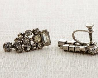 Vintage Rhinestone Earrings Clip On Silver Dangle Triple Strand Chandelier Clipons | Vtg 7B