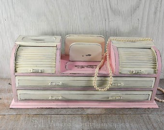 Painted Jewelry box, distressed, vintage lace, pink and creamy white, storage on top