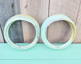 Vintage Light Green Metal Headlight Rings Pair Chippy Shabby Paint Upcycle Repurpose Picture Frame Mirror Rat Rod Steampunk Man Cave Garage