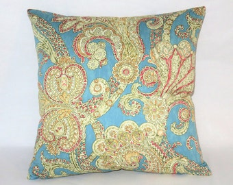 "Aqua Blue Paisley Pillow, Waverly Grand Gesture Aegean, Turquoise Gold Pink, 17"" Cotton Square, Ready  Ship,  Dorm Decor"