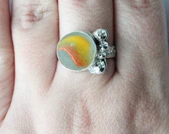 Sea Glass Marble Ring, Sea Glass Ring, Sea Glass Jewelry, Beach Glass Jewelry, Beach Glass Ring, Sea Glass Marble, Sterling Silver Ring