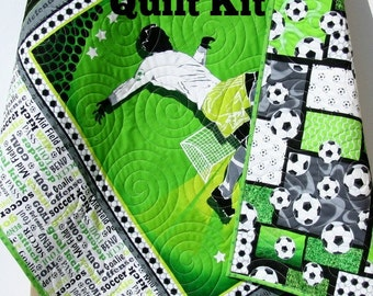 Soccer Quilt Kit Sports DIY Do It Yourself Project Fabric Soccer Boy or Girl Quilt Kit Craft Project Goal Kick Green Black Gray Soccer