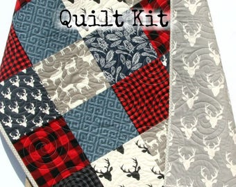 Quilt Kit Buffalo Plaid Rustic Woodland Bedding Crib Blanket Quilting Project Baby Quilt Kit Toddler Kit Patchwork Kit Deer Navy Red Black