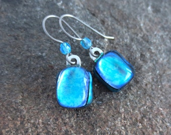 Titanium Earwires Dichroic Dangle Earrings Teal with Crystal