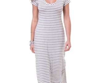Stripe maxi dress Gray white dress Stripe maxi summer dress Gray white women casual dress