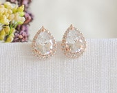 Rose Gold Bridal Earrings, Wedding Stud Earrings, Crystal Teardrop Halo Earrings, Gold, Silver, Bridal Wedding Jewelry, Bridesmaids, ANYA