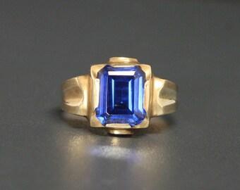 "Art Deco 10K Sapphire Ring ""Kimberly Gem Co."" Size 10 Yellow Gold"