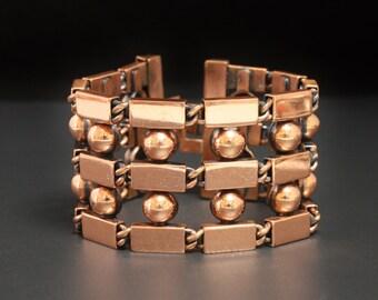 "Renoir Copper Bracelet Sphere Bloock Design 1.5"" Wide & 7"" Long"