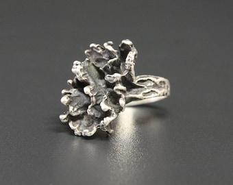 Vintage Brutalist Sterling Ring Size 7.5 Modern Brutalist